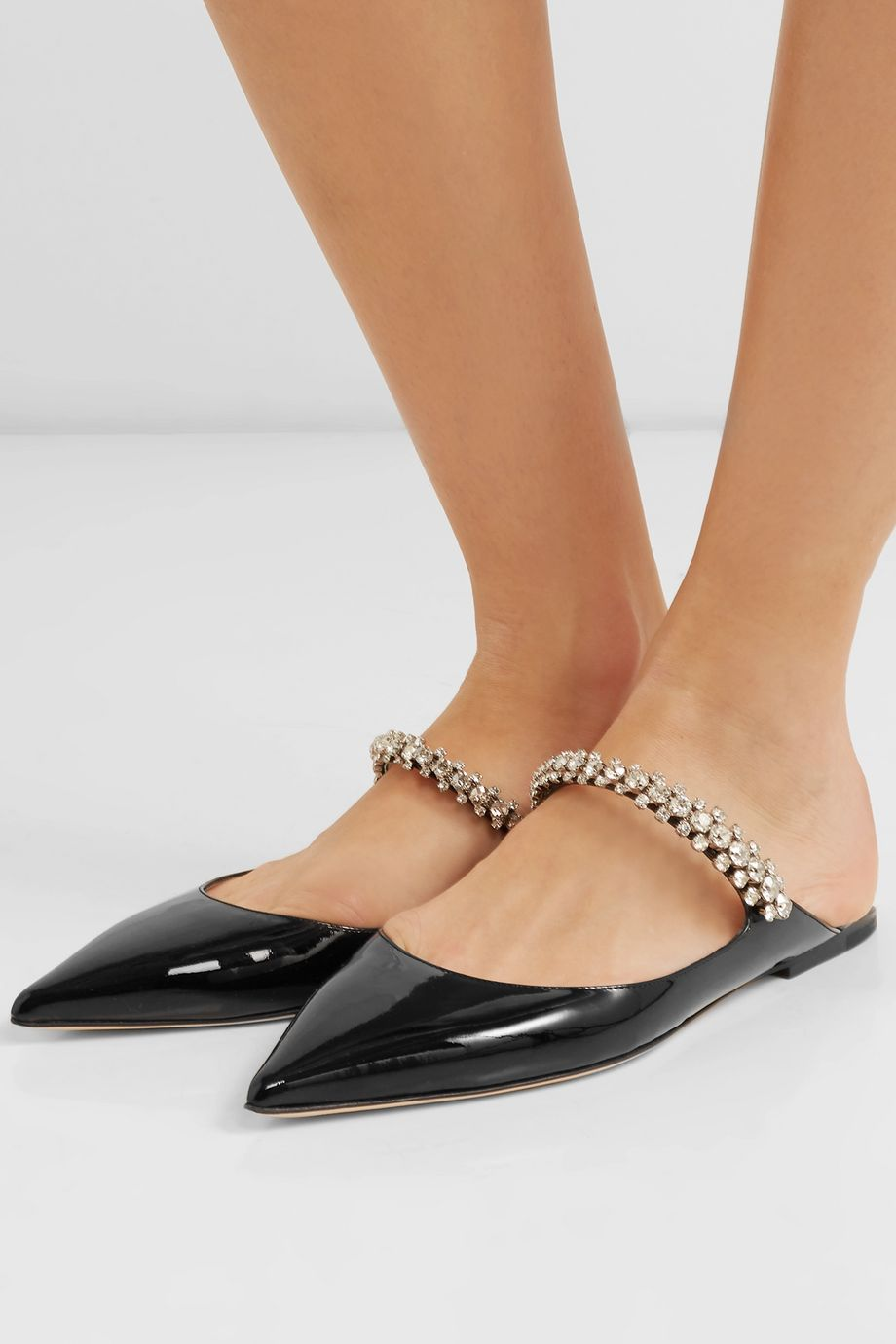 Jimmy Choo Bing crystal-embellished patent-leather slippers