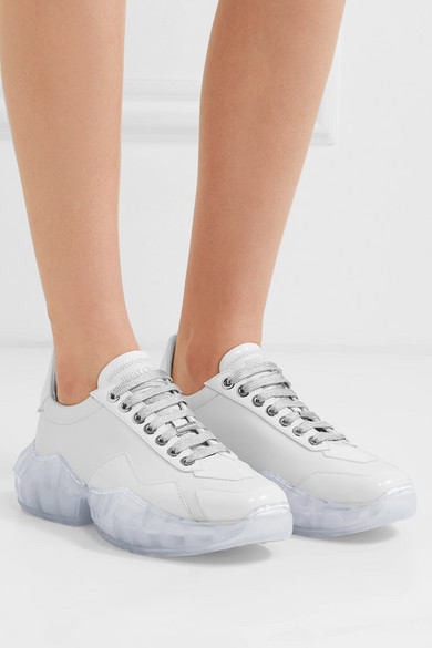 Jimmy Choo Sneakers Diamond patent-trimmed leather sneakers