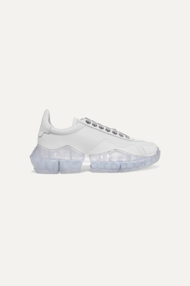 Diamond Patent Trimmed Leather Sneakers by Jimmy Choo