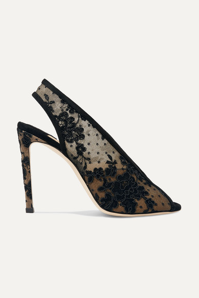 Jimmy Choo Pumps Shar 100 suede-trimmed lace slingback pumps
