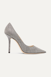 Love 100 glittered checked leather pumps