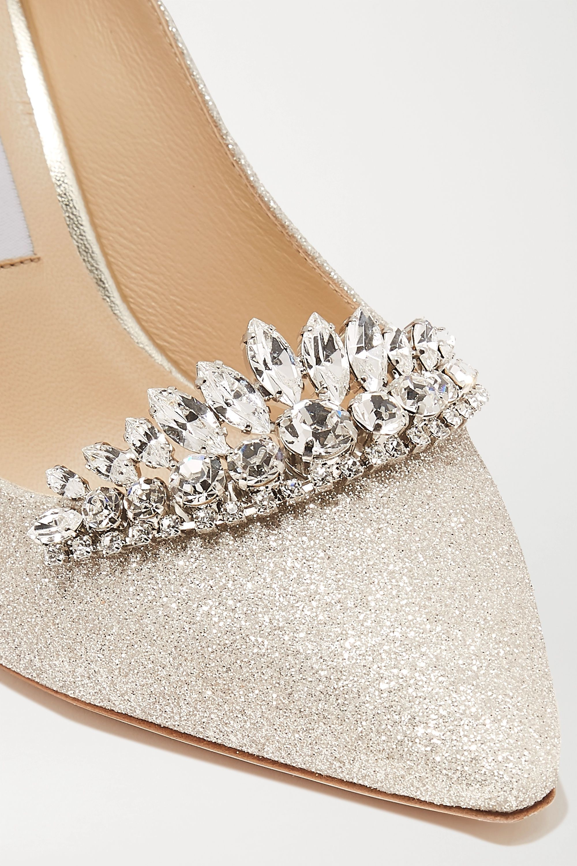 Jimmy Choo Romy 85 crystal-embellished glittered leather pumps