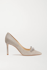 Romy 85 crystal-embellished glittered leather pumps