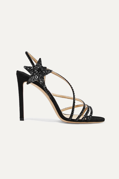 Lynn 100 Black Suede Sandals With Hotfix Crystals
