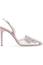 Veneziana embellished leather and PVC slingback pumps