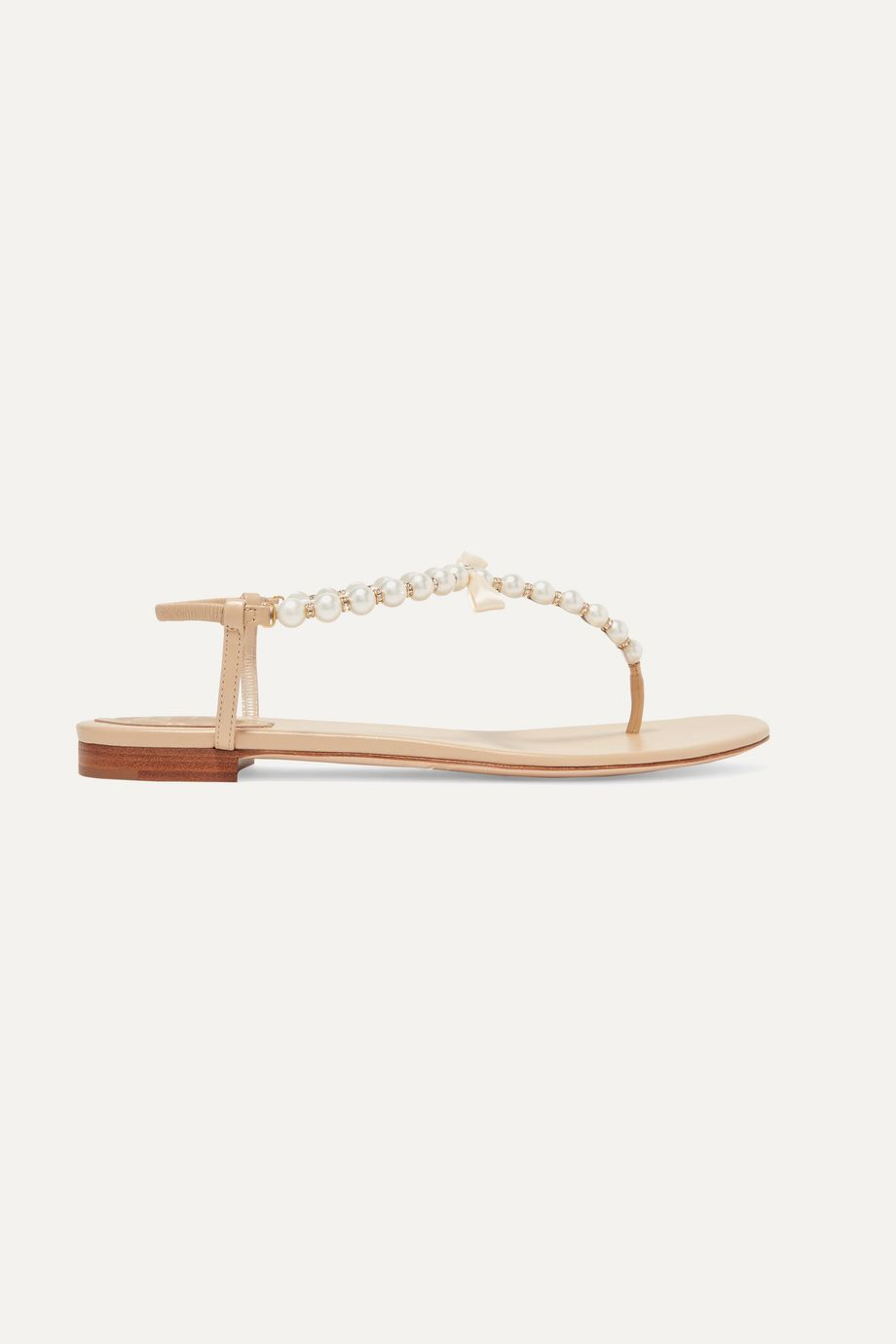 René Caovilla Faux pearl-embellished leather sandals
