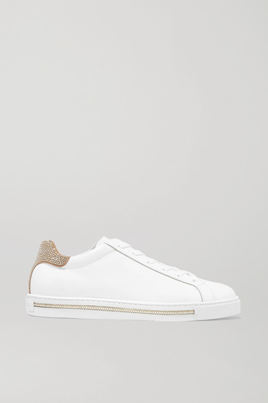 RenÉ Caovilla Crystal-embellished Suede And Leather Sneakers In V574 White