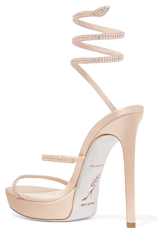 René Caovilla Cleo crystal-embellished satin platform sandals