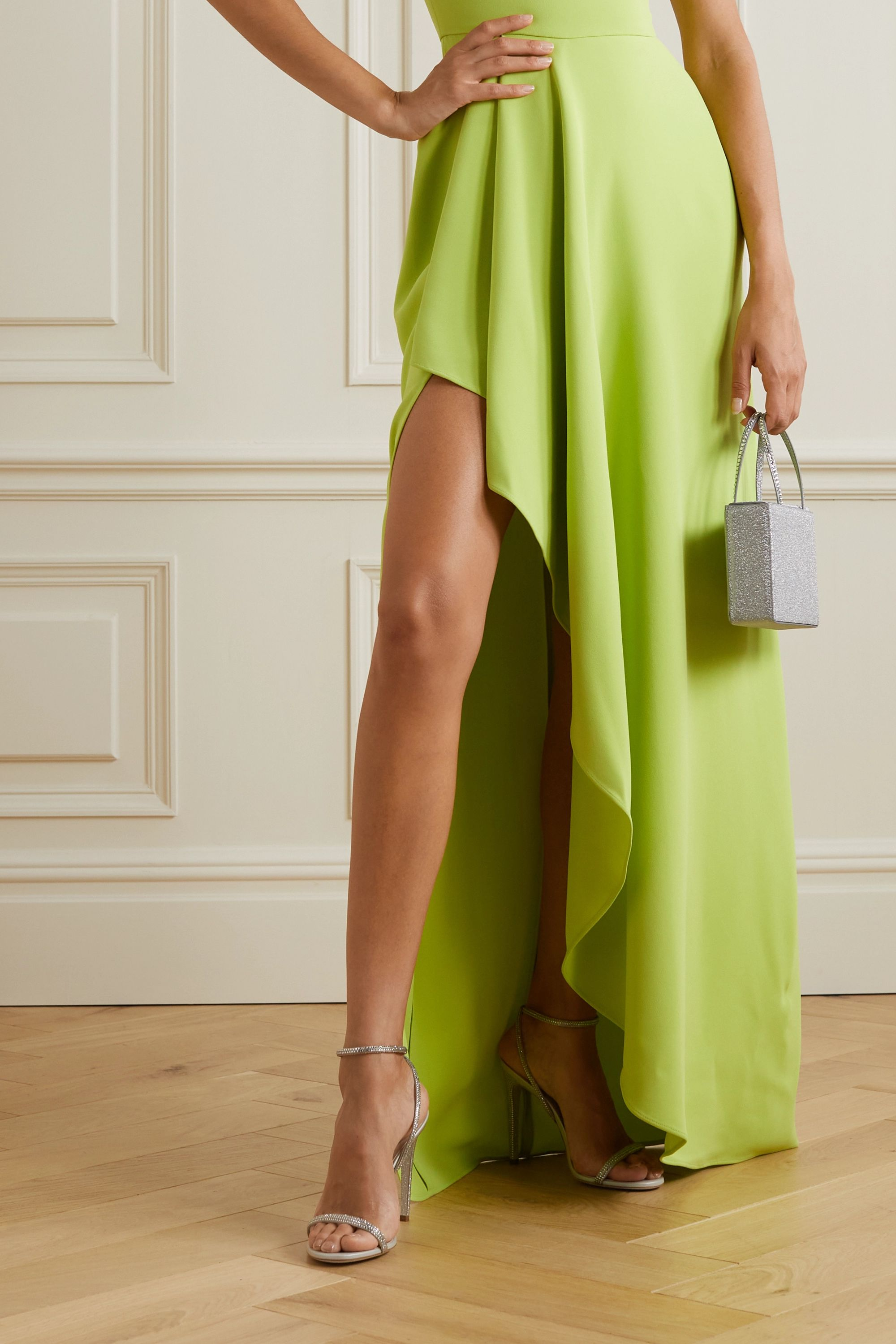 René Caovilla Crystal-embellished metallic leather and satin sandals