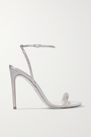 Crystal-embellished metallic leather and satin sandals