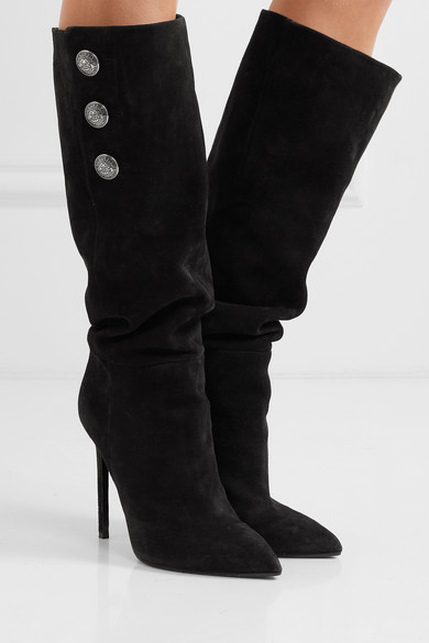 Balmain   Jane button-embellished suede knee boots   NET-A