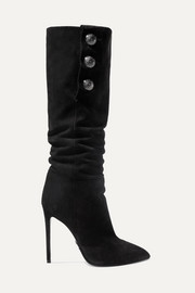 Jane button-embellished suede knee boots