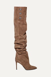 Janet button-embellished suede thigh boots