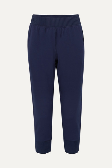 CALÉ Josephine Stretch-Jersey Track Pants in Navy