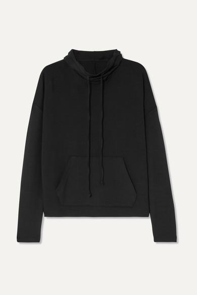CALÉ Astrid Stretch-Terry Sweatshirt in Black