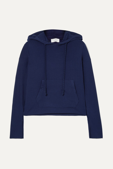 CALÉ Madeline Ribbed Stretch-Jersey Hoodie in Navy