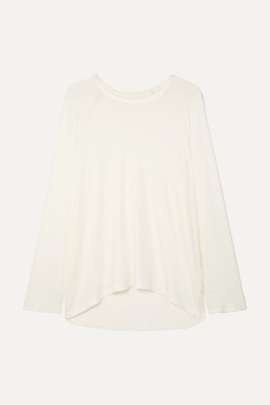 CALÉ | Calé - Noelle Ribbed Stretch-modal Jersey Top - Ivory | Goxip