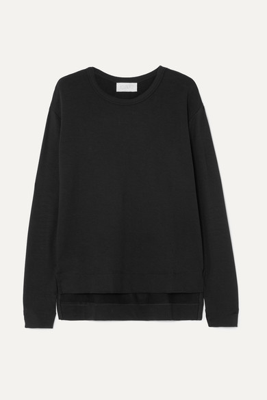 CALÉ Camille Stretch-Terry Sweatshirt in Black