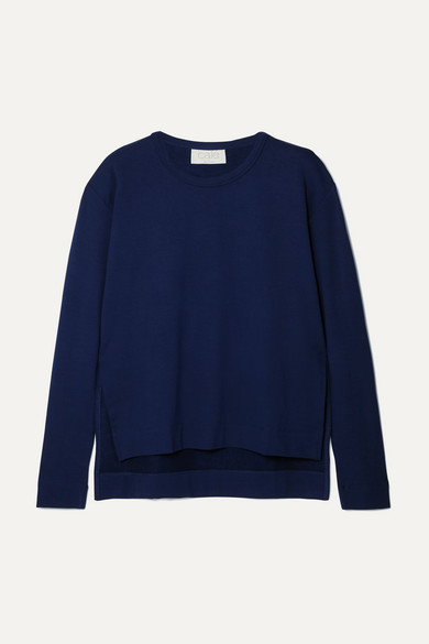 CALÉ Camille Stretch-Jersey Sweater in Navy