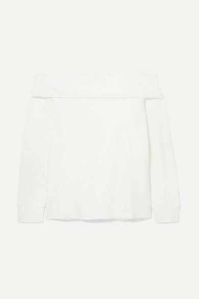 CALÉ | Calé - Giselle Off-the-shoulder Stretch-terry Top - Cream | Goxip