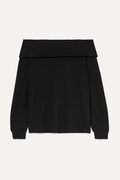CALÉ | Calé - Giselle Off-the-shoulder Stretch-terry Top - Black | Goxip