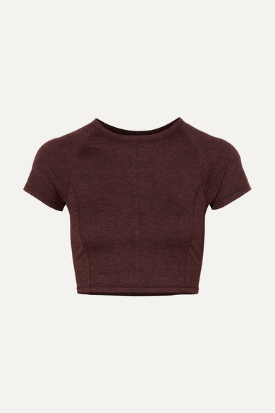 WE/ME | We/Me - The Karma Cropped Stretch-jersey T-shirt - Red | Goxip
