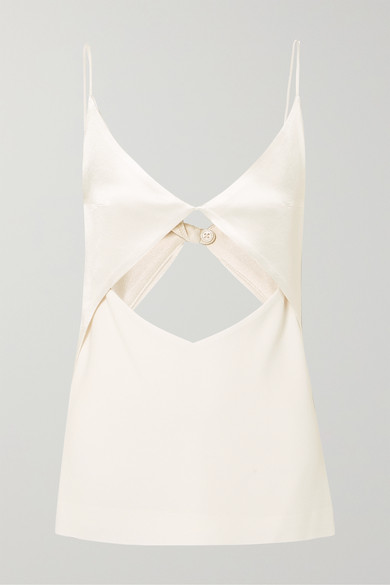 DION LEE Tessellate Cutout Satin And Grosgrain Camisole in Ivory
