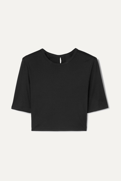 Dion Lee CROPPED TWIST-BACK COTTON-JERSEY T-SHIRT