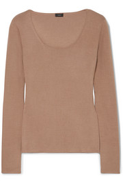 Stretch silk-blend sweater