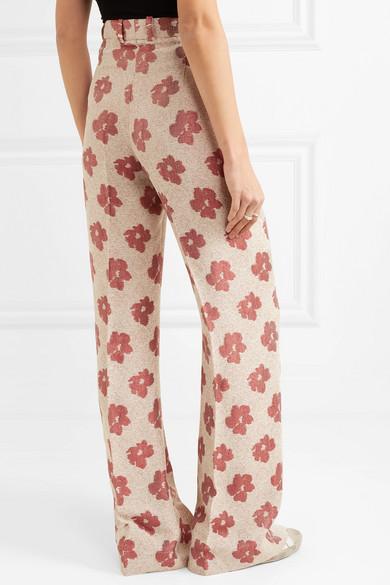 Golden Goose Pants Carrie floral-jacquard wide-leg pants