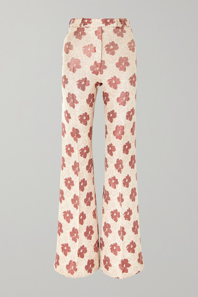 Carrie Floral-Jacquard Wide-Leg Pants in White