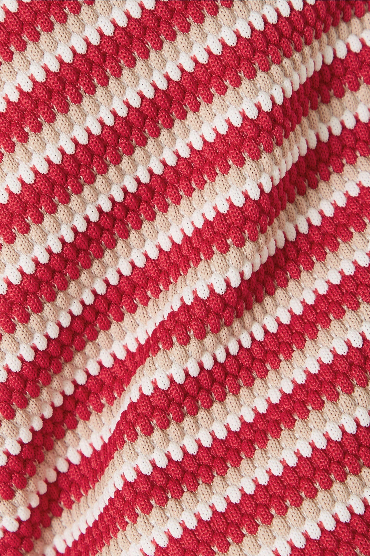 Peony Striped jacquard-knit bandeau bikini top