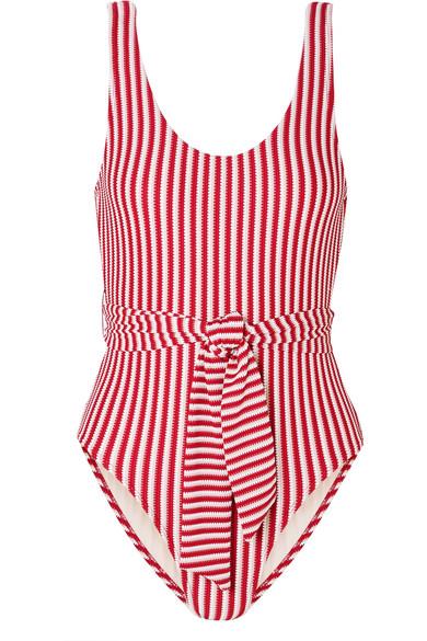 Peony Belted Striped Jacquard Knit Swimsuit Net A Porter