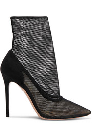Gianvito Rossi 105 mesh and suede sock boots