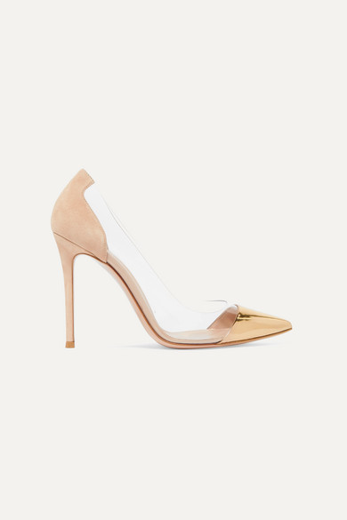 Exact Product: Amal Clooney Gold Leather Pumps Photoshoot Autumn Winter 2019, Brand: Gianvito Rossi, Available on: net-a-porter.com, Price: $815