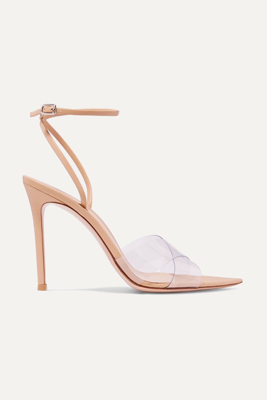 Exact Product: Stark 105 leather and PVC sandals, Brand: Gianvito Rossi, Available on: net-a-porter.com, Price: $556.5