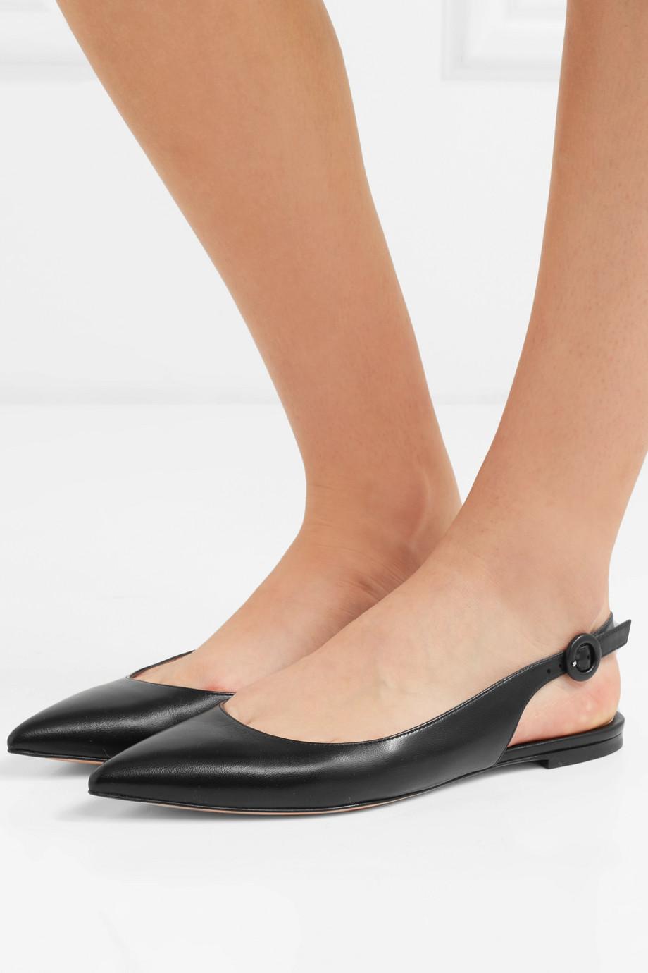 Gianvito Rossi Leather slingback point-toe flats