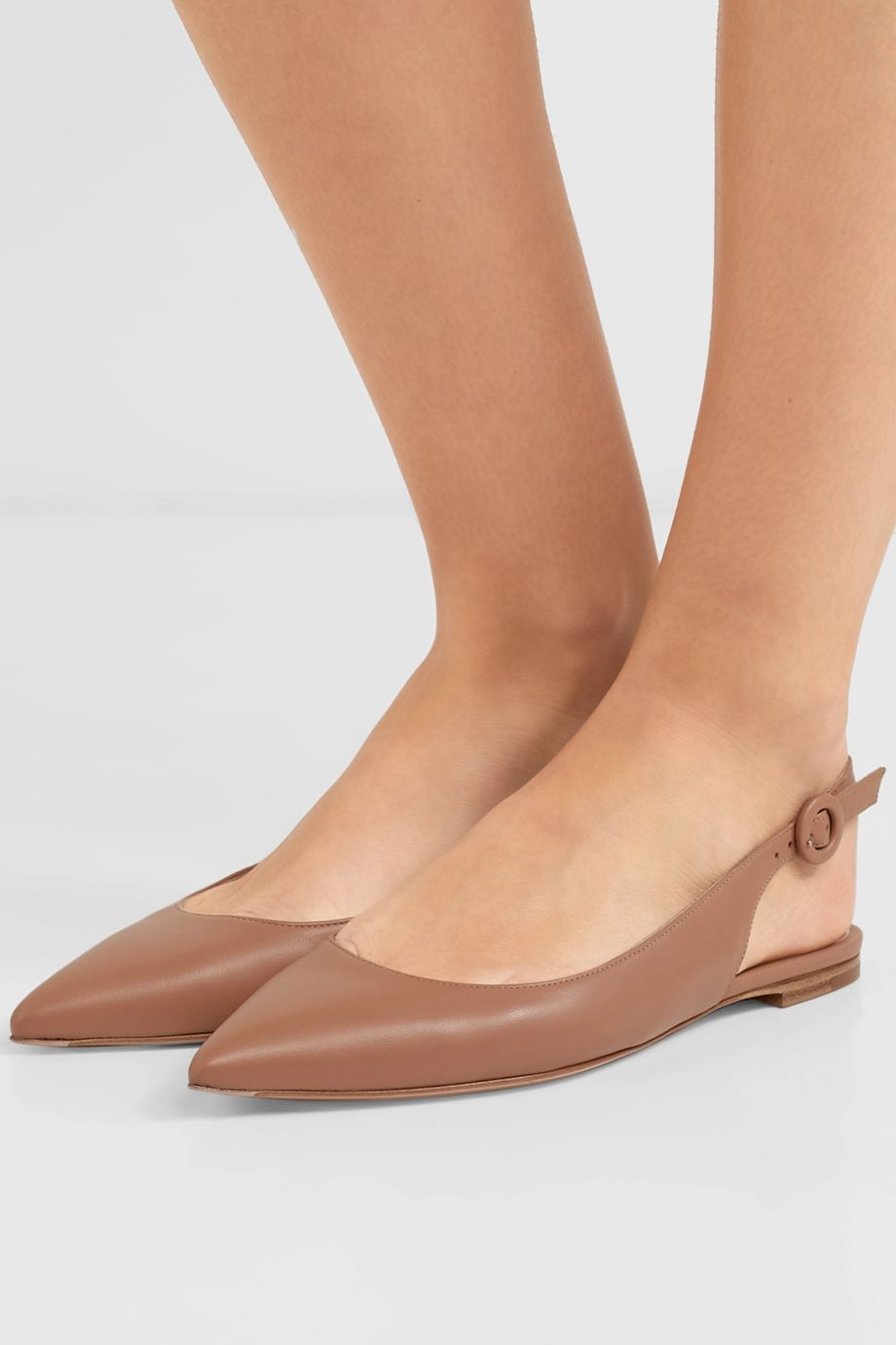 Gianvito Rossi Leather slingback point-toe flats