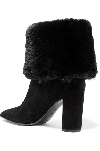 Gianvito Rossi Boots 85 suede and faux fur ankle boots