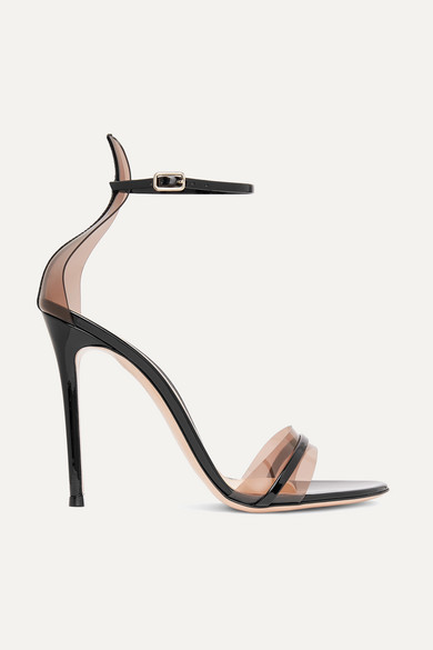 Gianvito Rossi G-string 105 Patent-leather And Plexi Sandals In Black