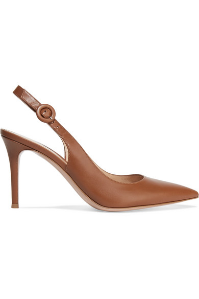 Anna Leather Slingback Pumps - Brown Size 10 in Light Brown