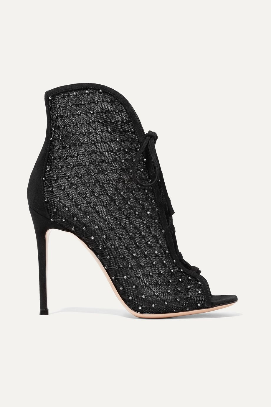 Gianvito Rossi 105 embellished suede-trimmed mesh ankle boots