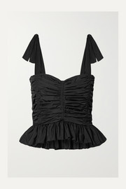 See By Chloé Ruched peplum taffeta top