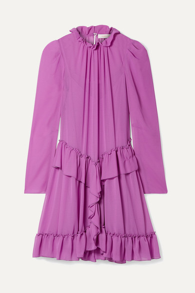 See By Chloe Purple Georgette Ruffle Dress in Violet