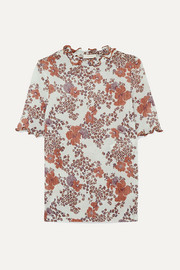 See By Chloé Ruffled floral-print stretch-gauze top