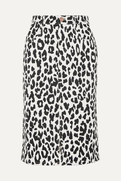 Leopard-Print Denim Midi Skirt in White