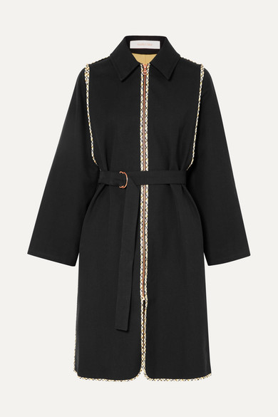 Belted Cotton-Twill Coat in Black