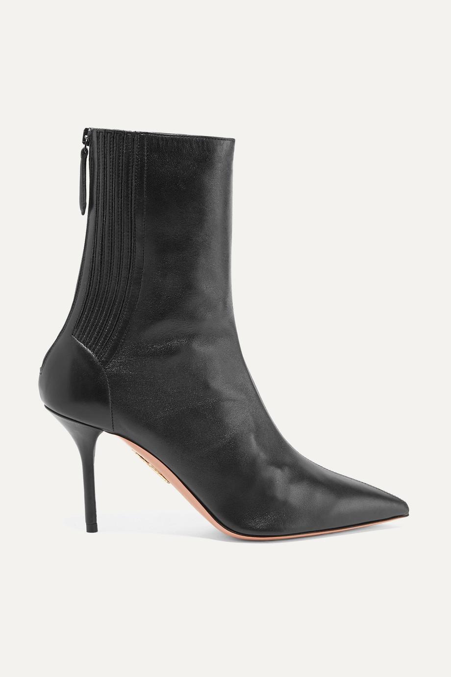 Aquazzura Saint Honoré 85 leather sock boots