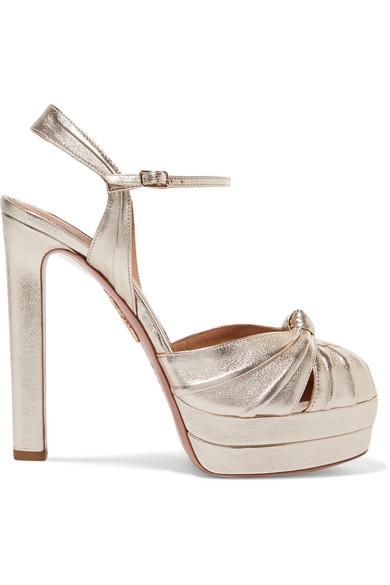Evita 130 Metallic Leather Platform Sandals in Light Gold