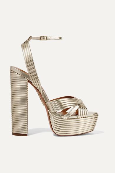 a6b7a87c8a Aquazzura | Sundance 150 metallic faux leather platform sandals |  NET-A-PORTER.COM